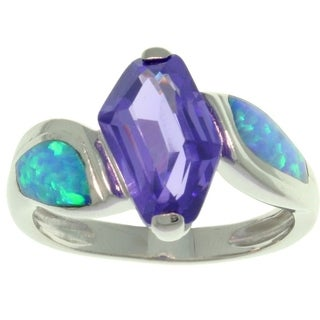 Sterling Silver CZ and Created Blue Opal Freeform Dream Ring
