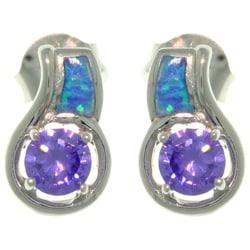 Sterling Silver Created Opal CZ Stud Earrings