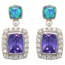Carolina Glamour Collection Sterling Silver Created Opal/ Multi CZ Dangle Earrings