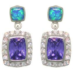 Sterling Silver Created Opal/ Multi CZ Dangle Earrings