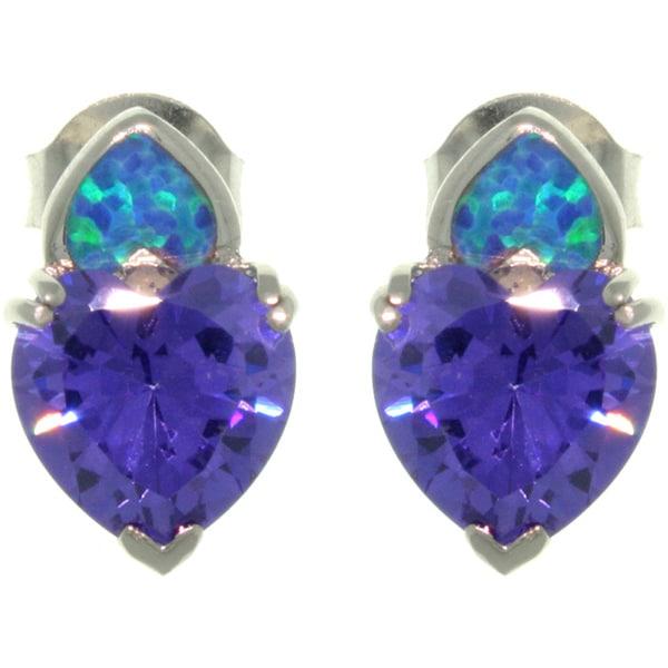 Sterling Silver Created Opal Purple Heart CZ Stud Earrings