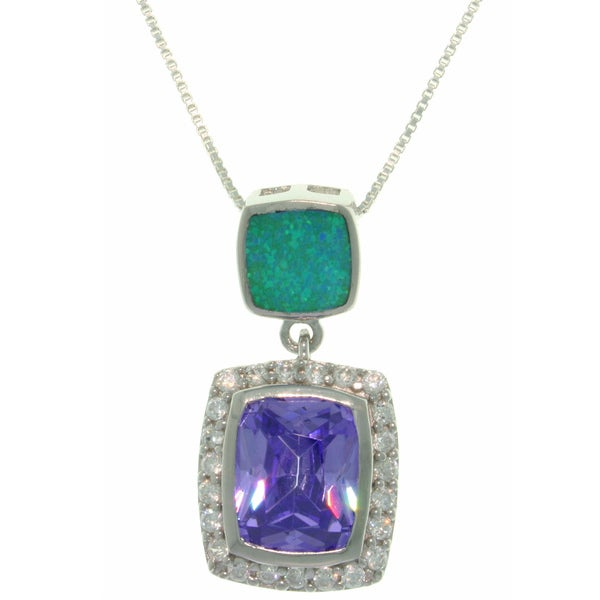 Carolina Glamour Collection Sterling Silver Purple Cubic Zirconia and Created Blue Opal Necklace