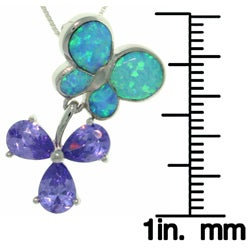 Carolina Glamour Collection Sterling Silver Created Opal Butterfly and Flower Necklace - Thumbnail 2