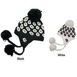 Leisureland Hand-crocheted Leopard Acrylic Beanie Hat