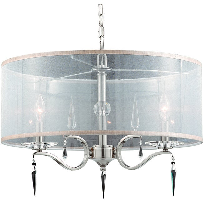 Swan 3-light Pendant with Shade in Satin Nickel