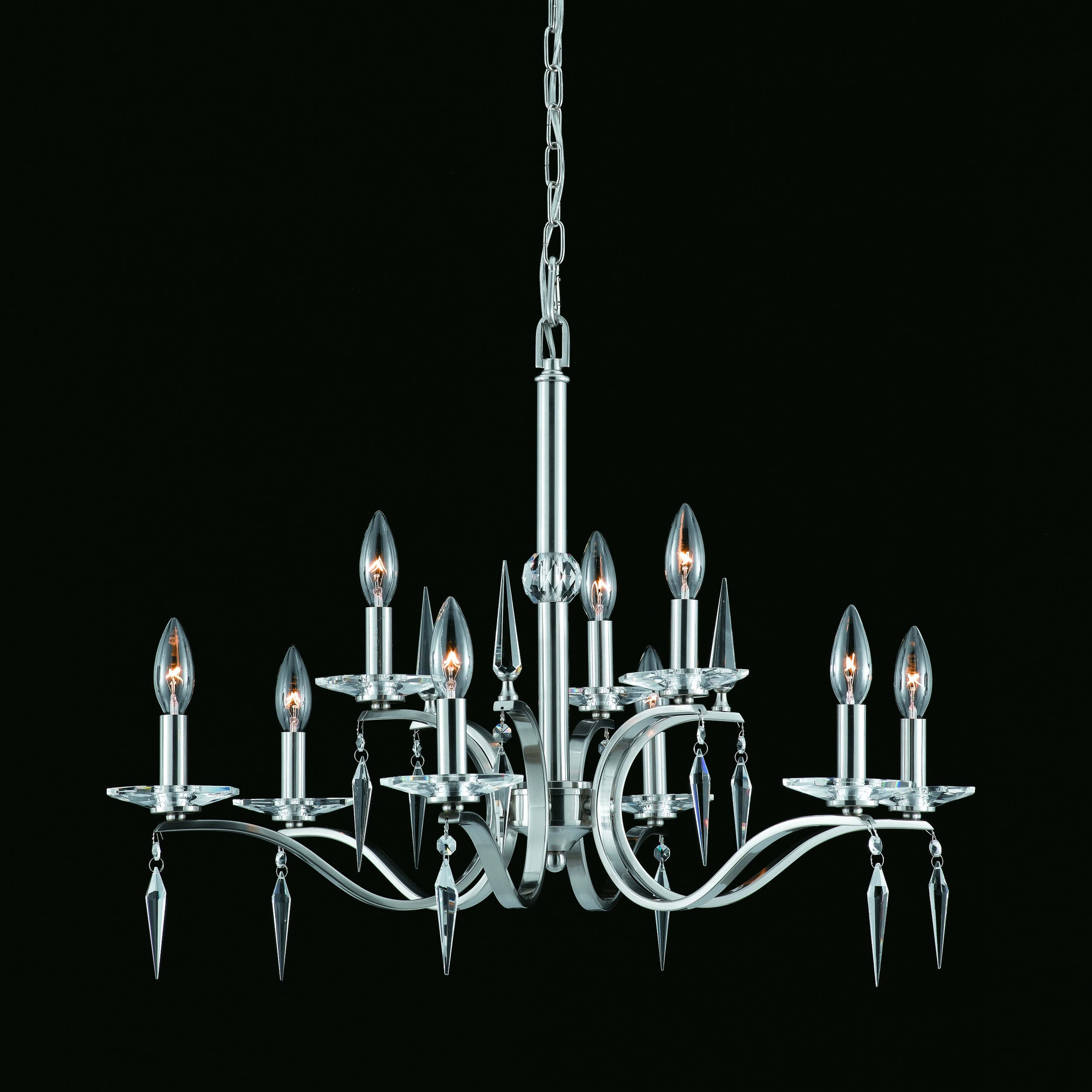 The Swan 9-light Chandelier in Satin Nickel Finish - Thumbnail 0