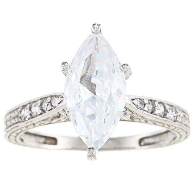 Alyssa Jewels 14k White Gold 2 1/2ct TGW Clear Cubic Zirc...