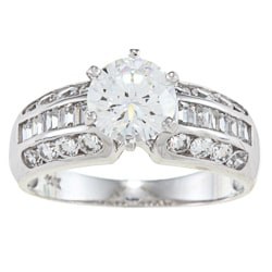 Alyssa Jewels 14k White Gold 2 1/2ct TGW Baguette/ Round Clear Cubic Zirconia Engagement-style Ring