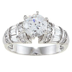 Alyssa Jewels 14k White Gold 2ct TGW Round/ Baguette Clear Cubic Zirconia Engagement-style Ring