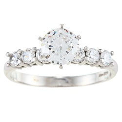 Alyssa Jewels 14k White Gold 1 1/2ct TGW Round-cut Clear Cubic Zirconia Engagement-style Ring