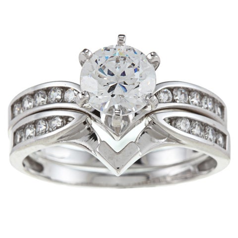 Alyssa Jewels 14k White Gold 2ct TGW Clear Cubic Zirconia Bridal-style Ring Set