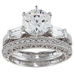 Alyssa Jewels 14k White Gold 2 1/2ct TGW Clear Cubic Zirconia Bridal-style Ring Set