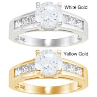 Alyssa Jewels 14k Gold 2.6 mm Round Cubic Zirconia Engagement-style Ring
