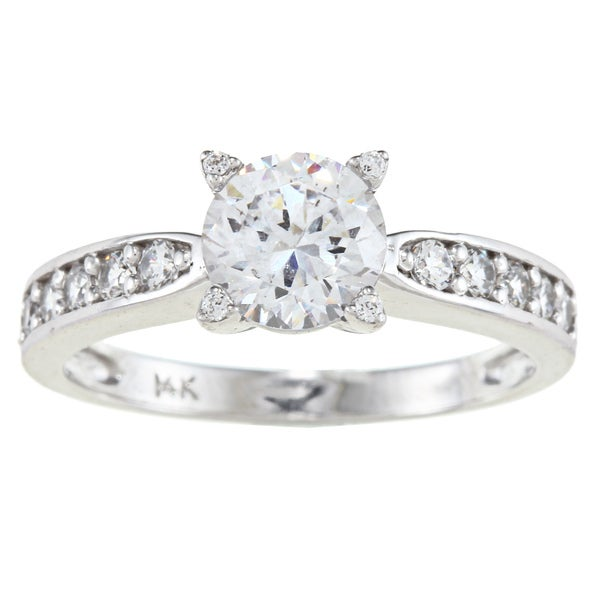 Alyssa Jewels 14k White Gold 1 1/2ct TGW Round/ Baguette Clear Cubic Zirconia Engagement-style Ring