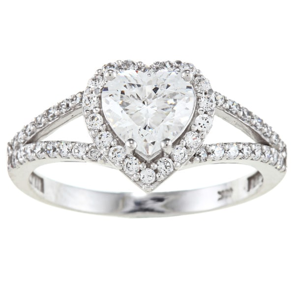 Alyssa Jewels 14k White Gold 2ct TGW Clear Cubic Zirconia Heart Engagement-style Ring