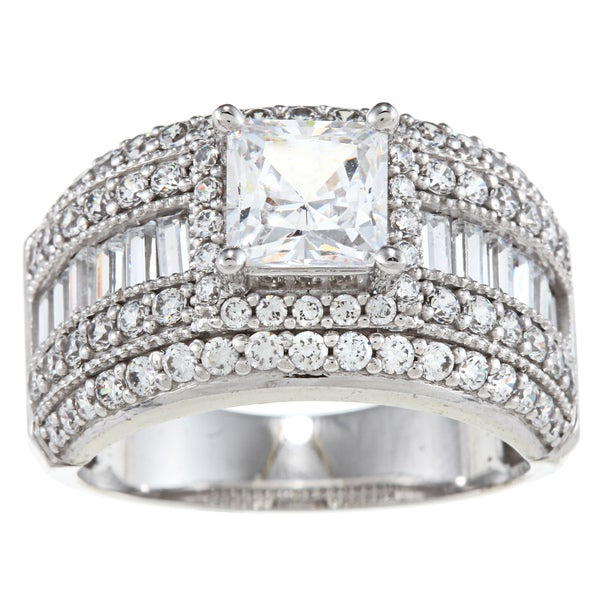 Alyssa Jewels 14k White Gold 3 1/2ct TGW Clear CZ Engagement-style Ring