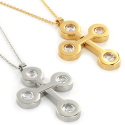 Stainless Steel Cross with Round CZ Pendant