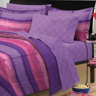 Tie Dye Purple/ Pink 7-piece Bed in a Bag with Sheets Set