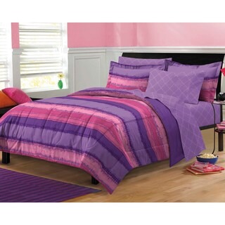 Tie Dye Purple/ Pink 7-piece Bed in a Bag with Sheets Set (2 options available)