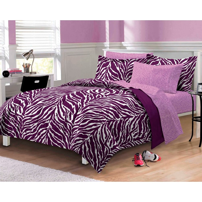 Zebra Microfiber 6-piece Bed in a Bag with Sheet Set (Pur...