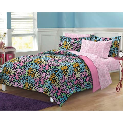 Multicolor Leopard 7-piece Bed in a Bag with Sheet Set