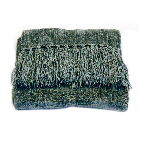 Shop Susan Luxury Denim Chenille Throw With Fringe