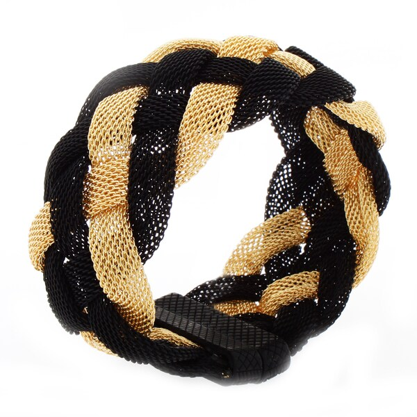 Nexte Jewelry Black and Goldtone Braided Mesh Bracelet