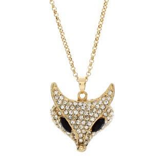 Nexte Jewelry Goldtone Rhinestone Foxy Pendant Neckalce
