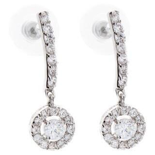 Nexte Jewelry Silvertone Super Solitaire Dangle Earrings