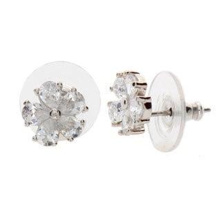 Nexte Jewelry Silvertone Pear-shape Daisy CZ Stud Earrings