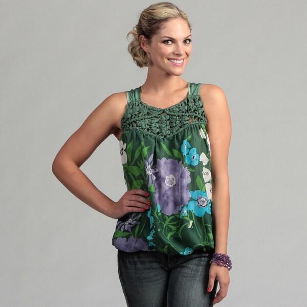 Ebene Women's Green Floral Sleeveless Blouse