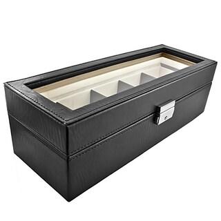 Classic Leather Five-Watch Box Storage Case