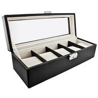 Classic Leather Five-Watch Box Storage Case