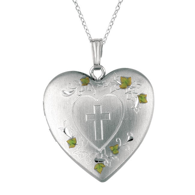 Sterling Silver Heart Locket with Cross Hearts and Swirls Necklace