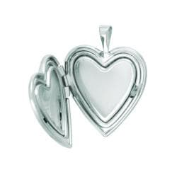 Sterling Silver Heart Locket with Cross Hearts and Swirls Necklace - Thumbnail 1
