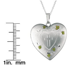 Sterling Silver Heart Locket with Cross Hearts and Swirls Necklace - Thumbnail 2