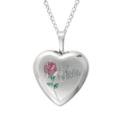 Sterling Silver Heart Shaped 'Mom' Locket with Rose Necklace