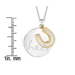 Sterling Silver Crystal Circle Horseshoe 'Luck' Pendant - Thumbnail 1