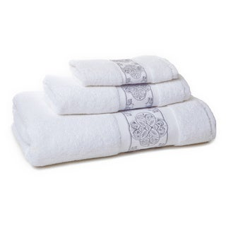 Eileen West White/ Silver Filigree 3-piece Towel Set