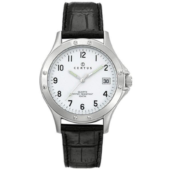 Certus Paris Men's White Dial Leather Date Watch