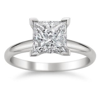 Montebello 14k White Gold 2ct TDW Princess Cut Solitaire Diamond Ring