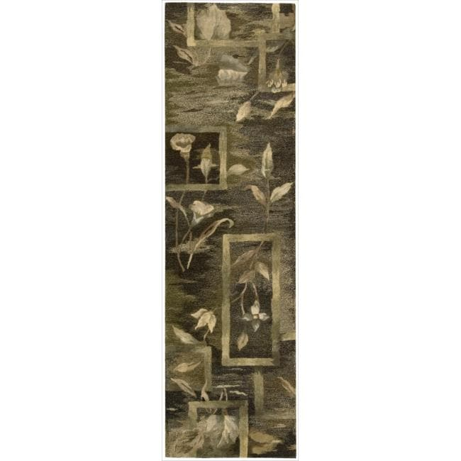 Nourison Hand-tufted Reflections Black Wool Rug (2'3 x 8')