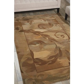 Nourison Hand-tufted Reflections Beige Wool Rug (5'6 x 8'6)