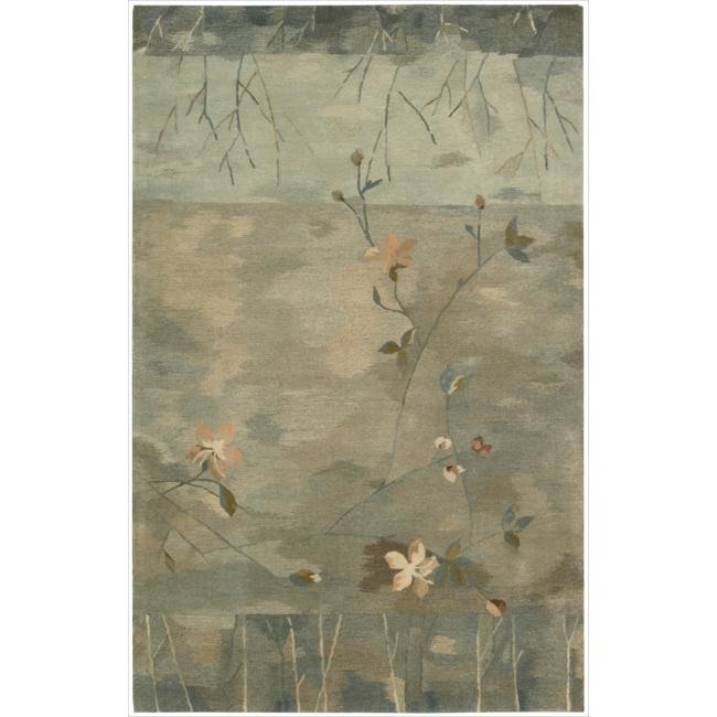 Nourison Hand-tufted Reflections Green Wool Rug (5'6 x 8'6)