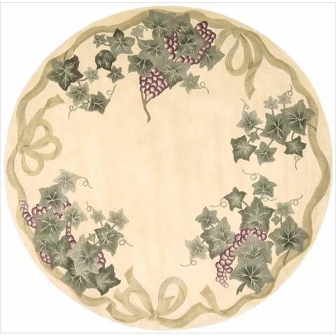 """Nourison Flower Garden Ivory Rug - 7'6"""" Round"""