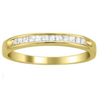 Montebello 14k Yellow Gold 1/4 ct TDW Princess Cut Diamond Channel Set Wedding Band