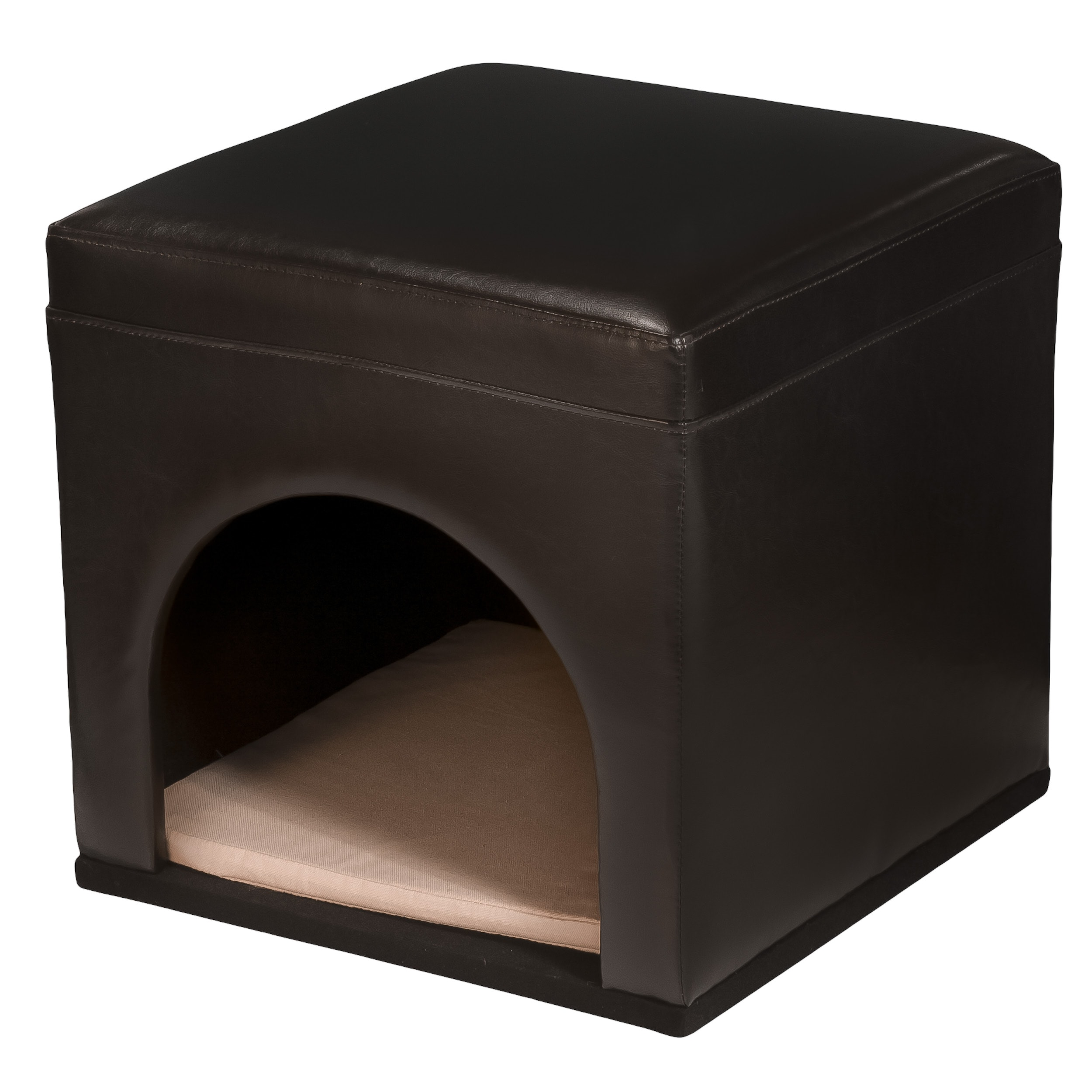 Assembled Espresso Bonded Leather Pet Bed (17.5 x 18.3 x 18.3) by Christopher Knight Home - Thumbnail 0