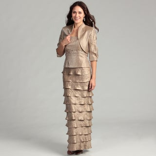 Jessica Howard Women's Taupe Tiered 2-piece Dress