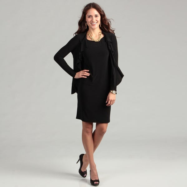 Jessica Howard Women's Black Ruffle Jacket Dress