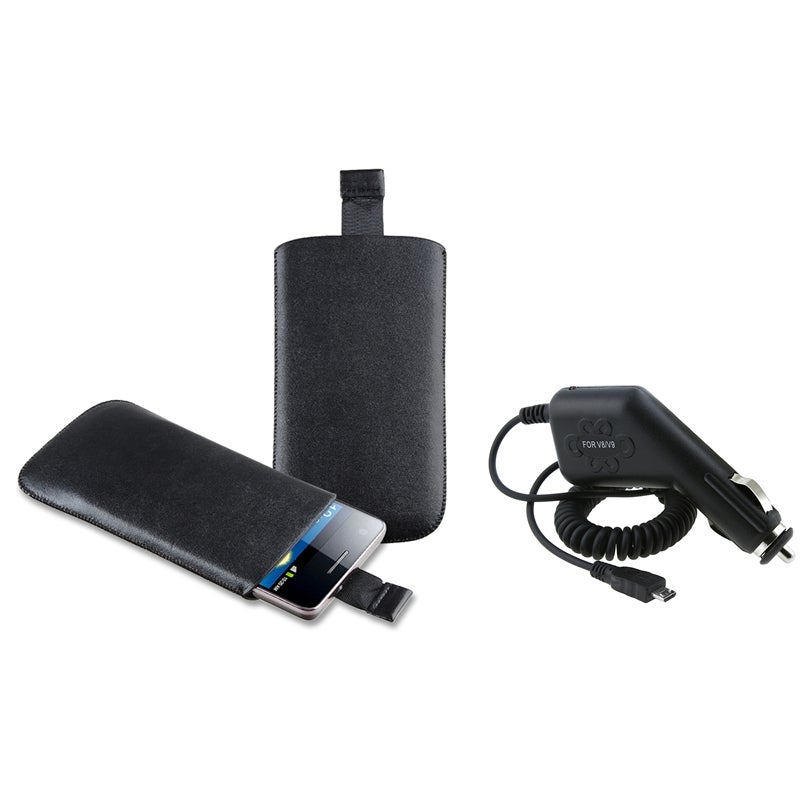 Black Leather Pouch/ Car Charger for Samsung Galaxy S II AT&T i777 - Thumbnail 0